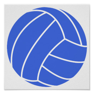 Royal Blue and White Volleyball Poster