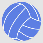 Royal Blue and White Volleyball Round Sticker