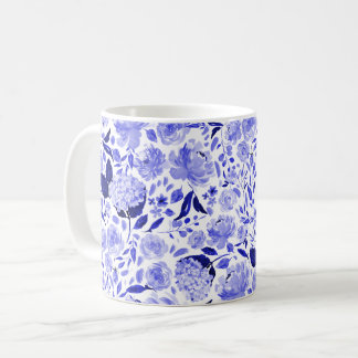 Royal Blue and White Watercolor Floral Coffee Mug