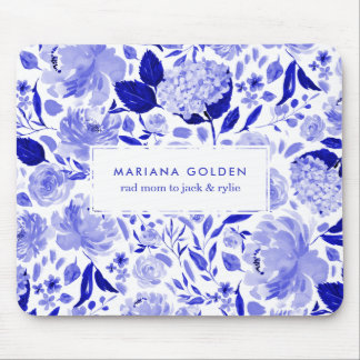 Royal Blue and White Watercolor Floral Personalize Mouse Pad