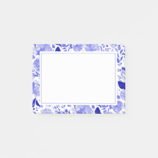 Royal Blue and White Watercolor Floral Post-it Notes