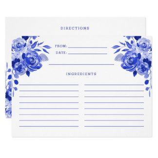 Royal Blue and White Watercolor Floral Recipe Card