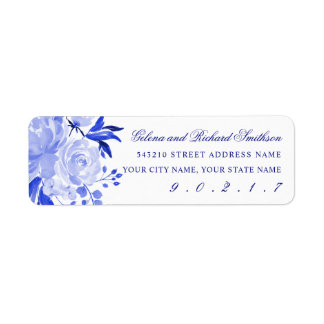 Royal Blue and White Watercolor Florals Address