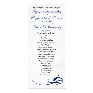 royal blue and white Wedding program Rack Card