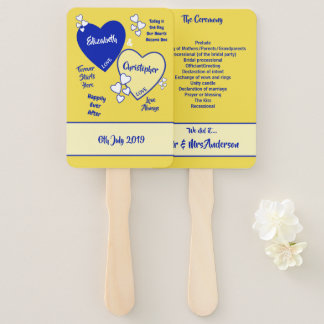 Royal blue and yellow Wedding Hand Fan
