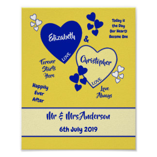 Royal Blue and Yellow Wedding Sign Poster
