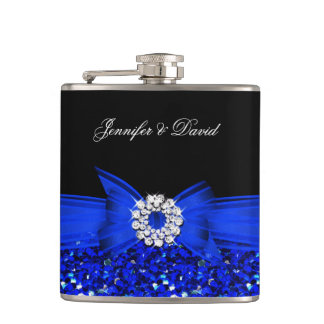 Royal Blue Black Diamond Wedding Engagement Hip Flask