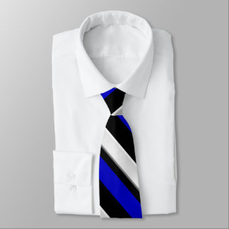 Royal Blue Black & Silver Diagonally-Striped Tie