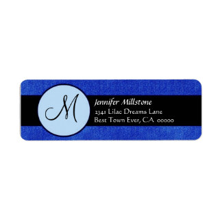 Royal Blue & Black Wedding Monogram Address Label