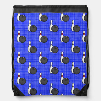 Royal Blue Bowling Ball Pattern Drawstring Bag