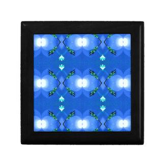 Royal Blue Bright White Fractal Pattern Keepsake Box