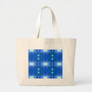 Royal Blue Bright White Fractal Pattern Large Tote Bag