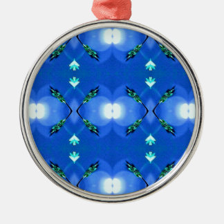 Royal Blue Bright White Fractal Pattern Silver-Colored Round Ornament
