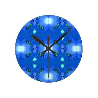 Royal Blue Bright White Fractal Pattern Wall Clock