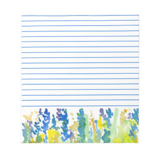 Royal Blue Bright Yellow Watercolor Flowers Lined Notepad