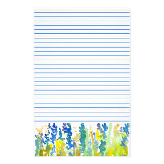 Royal Blue Bright Yellow Watercolor Flowers Lined Stationery Design