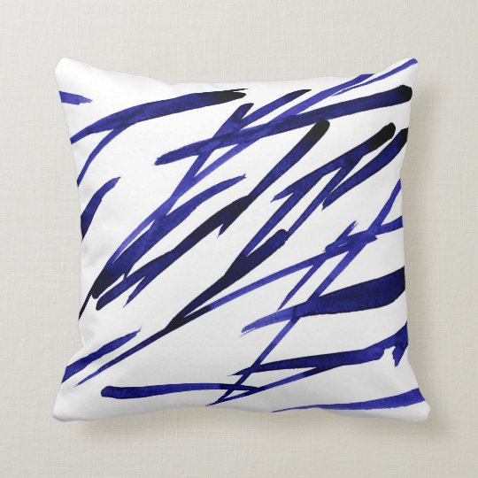 'Royal Blue Brushstrokes' Throw Pillow