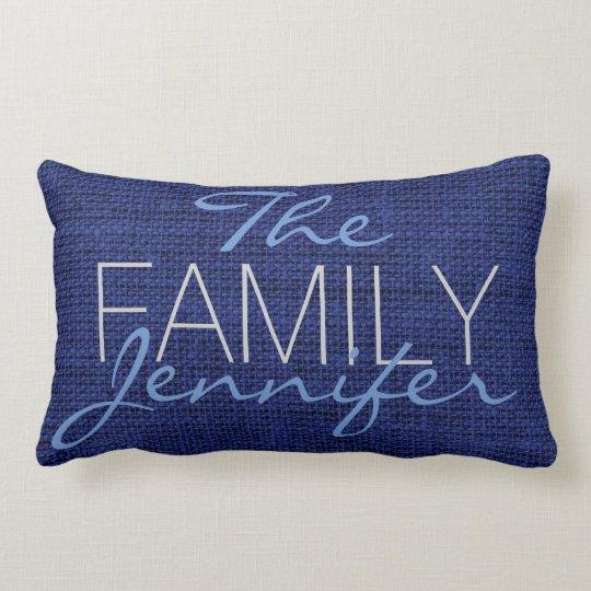 Royal blue Burlap Rustic Linen Monogram Lumbar Pillow