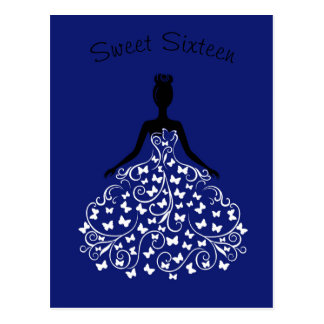 Royal Blue Butterfly Gown Sweet Sixteen Invitation Postcard