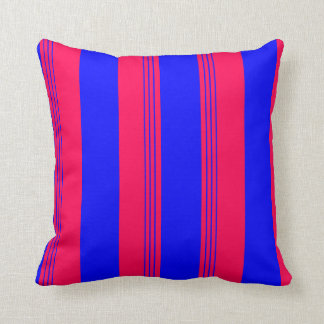 Royal Blue Candy Striped & Solid Reversible Pillow