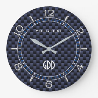 Royal Blue Carbon Fiber Style Personalized Dial Large Clock