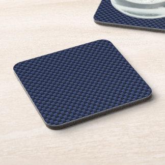 Royal Blue Carbon Fiber Style Weave Print Coaster