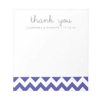 Royal Blue Chevron Thank You Notepad Bridesmaid Gi