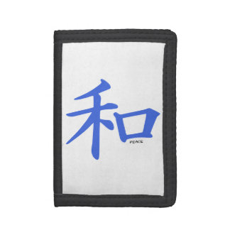 Royal Blue Chinese Peace Sign Tri-fold Wallets