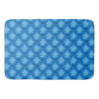 Royal Blue Christmas Snowflake Pattern Bath Mat