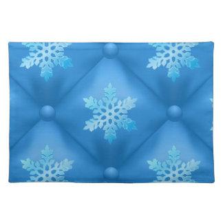 Royal Blue Christmas Snowflake Pattern Placemat
