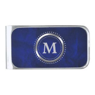 Royal Blue Chrome Monogram Silver Finish Money Clip