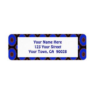 Royal blue circle pattern return address label