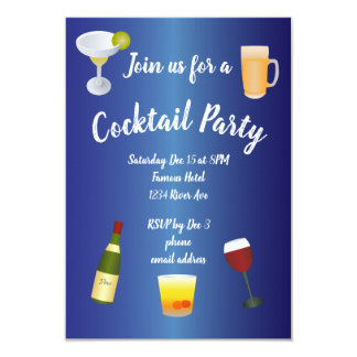 Royal Blue Cocktail Party Card