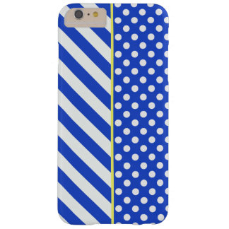 Royal Blue Combination Polka Dots And Stripes Barely There iPhone 6 Plus Case