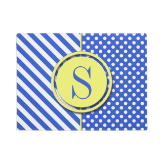 Royal Blue Combination Polka Dots And Stripes Doormat
