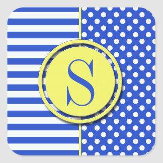 Royal Blue Combination Polka Dots And Stripes Square Sticker