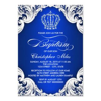"Royal Blue Crown Baptism 5"" X 7"" Invitation Card"