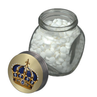 Royal Blue Crown Prince Baby Shower Candy Jar