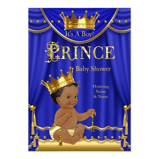 Royal Blue Crown Prince Baby Shower Gold Ethnic Card
