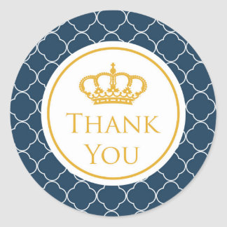 Royal Blue Crown Thank You Sticker