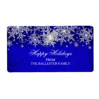 Royal Blue Crystal Pearl Snowflake Happy Holidays Shipping Label