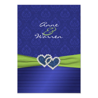 Royal Blue Damask and Pleats Chartreuse Invitation