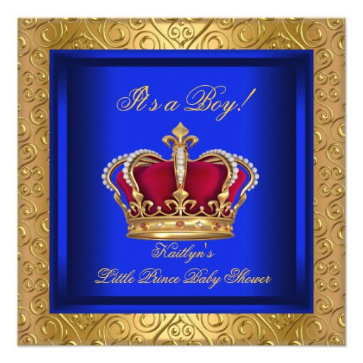 royal blue damask gold baby shower boy personalized invitation