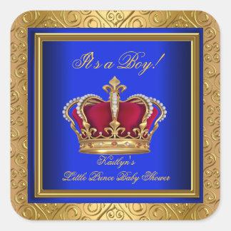 Royal Blue Damask Gold Baby Shower Boy Regal Square Sticker