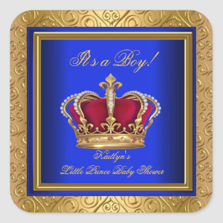 Royal Blue Damask Gold Baby Shower Boy Regal Stickers