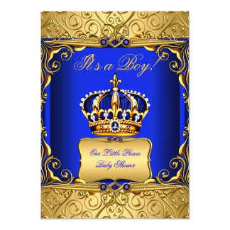 "Royal Blue Damask Gold Crown Baby Shower Boy bs2 5"" X 7"" Invitation Card"