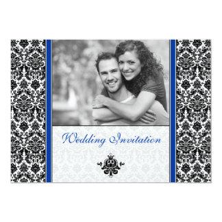 Royal Blue Damask Photo Wedding Invitation
