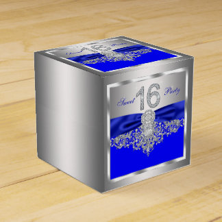 Royal Blue Diamond Sweet 16 Favor Boxes