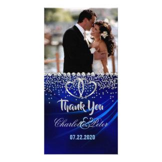 Royal Blue Diamonds/Hearts Thank You Photo Card