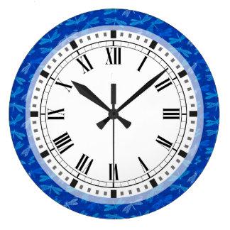 Royal Blue Dragonfly Decorative Pattern Large Clock